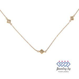 Solid Bezel Diamond Bar Choker Necklace Rose Gold
